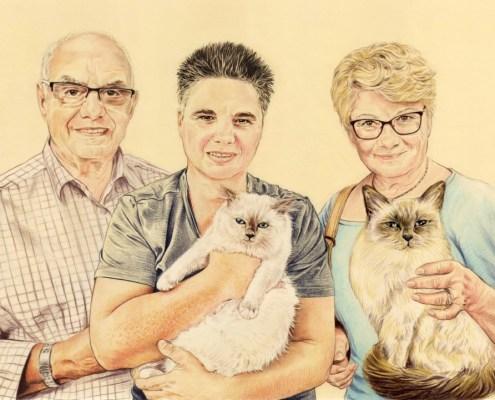 Portrait dessin d'après photo d'une famille avec deux chats