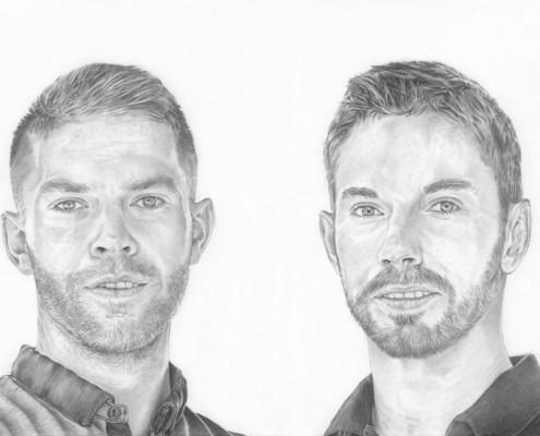 Portrait dessin d'après photo de deux frères