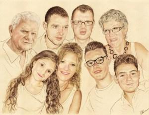 Portrait dessin d'après photo d'une famille en grand format en couleur