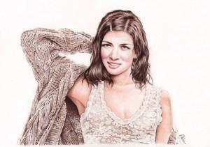 Portrait dessin d'après photo d'une jeune fille posant en couleur