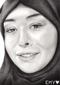 Portrait dessin d'après photo d'une jeune fille voilée en noir et blanc