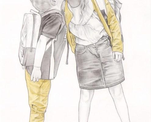 Portrait dessin d'après photo d'un petit garçon embrassant sa sœur