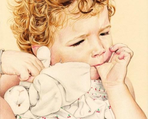 Portrait dessin d'après photo d'une petite fille blonde avec son doudou en couleur