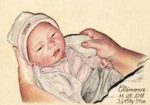 Portrait dessin d'après photo pour la naissance d'une petite fille