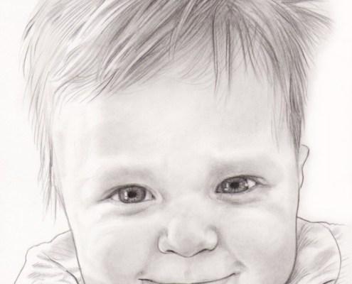 Portrait dessin d'un bébé souriant en noir et blanc