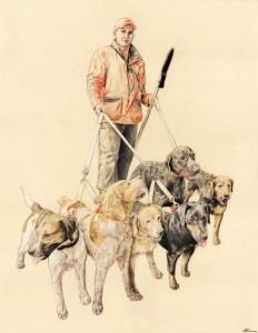 Portrait dessin d'après photo d'un chasseur avec ses chiens