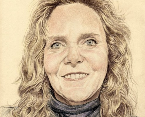 Portrait dessin d'après photo d'une femme blonde en couleur