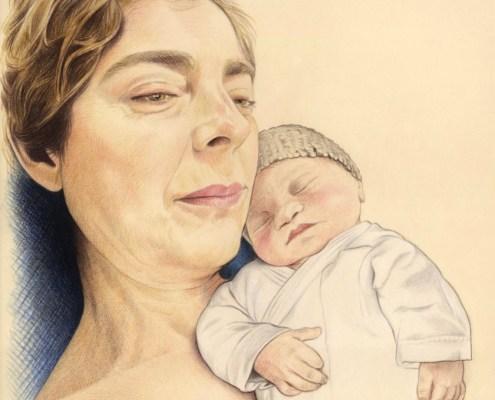 Portrait dessin d'après photo d'une maman avec son bébé en couleur