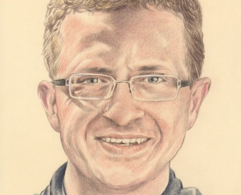 Portrait dessin d'un homme à lunettes