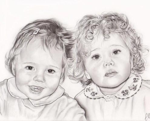 Portrait dessin de deux jeunes sœurs en noir et blanc