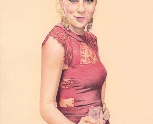 Portrait dessin d'une jeune femme en robe de soirée