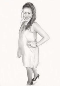 Portrait dessin d'une jeune femme en robe noir et blanc