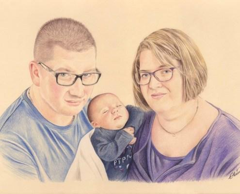 Portrait dessin d'un papa et d'une maman avec leur bébé