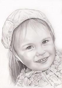 Portrait dessin d'une petite fille en costume traditionnel