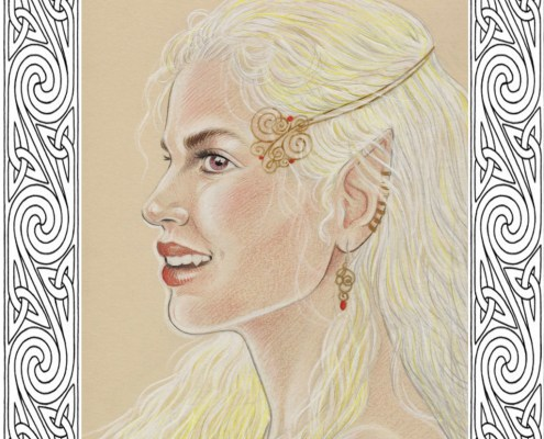 Dessin d'une elfe d'inspiration celtique