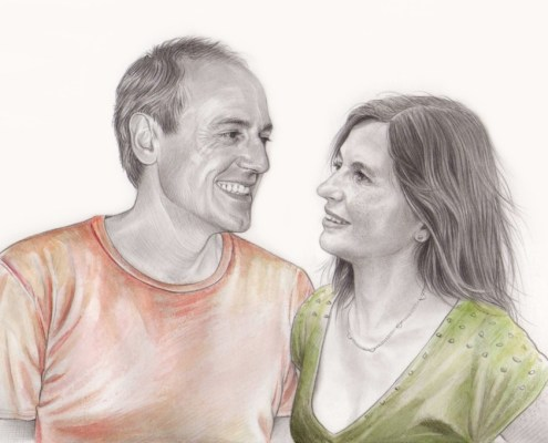 Portrait dessin d'un couple se regardant