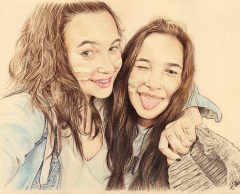 Portrait dessin de deux sœurs enlacées
