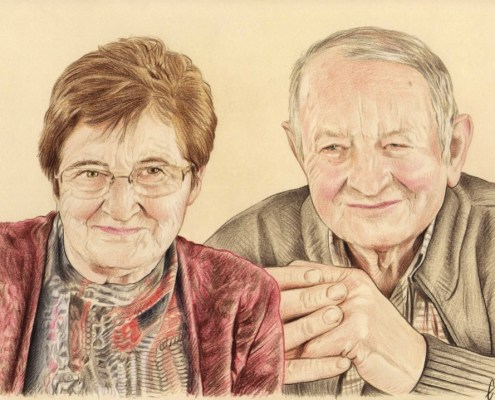 Portrait dessin de grands-parents en couleur