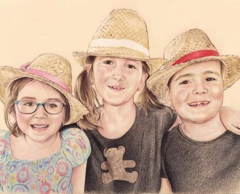 Portrait dessin de trois enfants avec des chapeaux de paille
