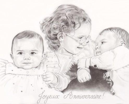 Portrait dessin de trois enfants en noir et blanc
