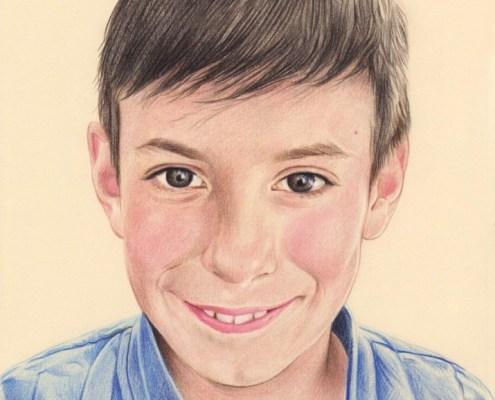 Portrait dessin en couleur d'un jeune garçon