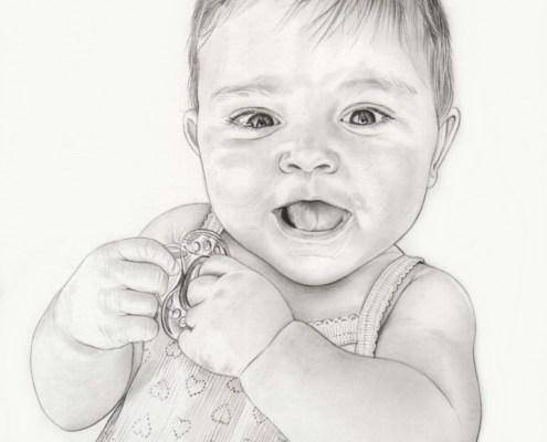 Portrait dessin en noir et blanc d'un bébé riant