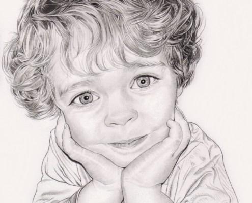 Portrait dessin en noir et blanc d'un enfant accoudé
