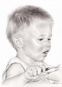 Portrait dessin en noir et blanc d'un petit garçon mangeant