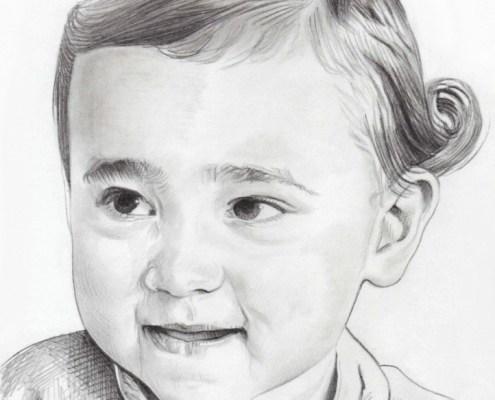 Portrait dessin en noir et blanc d'une fillette