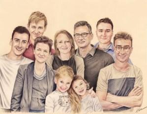 Portrait dessin familial en couleur