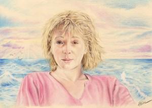 Portrait dessin d'une femme sur fond maritime