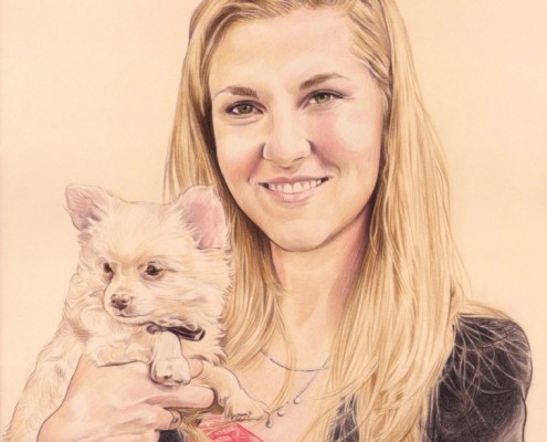 Portrait dessin d'une jeune femme avec son petit chien dans les bras