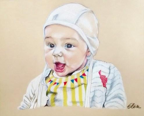 Portrait dessin d'après photo d'un bébé