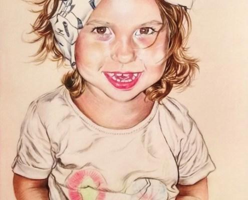 Portrait dessin d'après photo d'une petite fille