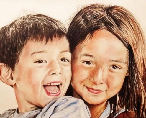 Portrait dessin d'après photo d'enfants frère et sœur