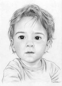 Portrait dessin en noir et blanc d'un petit garçon
