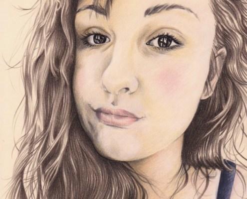 Portrait dessin pour une jeune fille en couleur