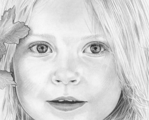 Dessin d'une petite fille en noir et blanc