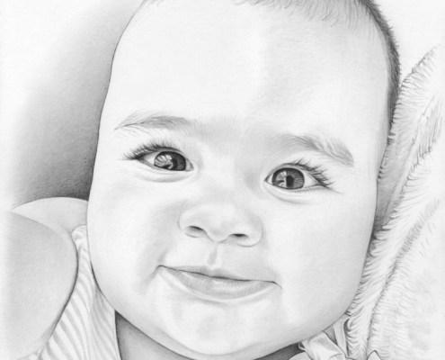 Portrait dessin d'un bébé souriant