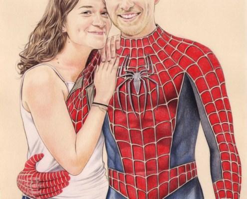 Portrait dessin d'un couple habillé en super héros