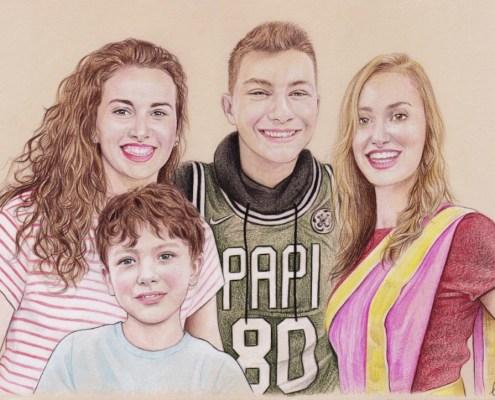 Portrait dessin d'après photo de quatre frères et sœurs