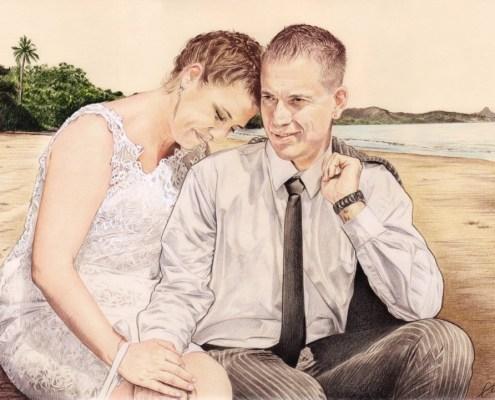 Portrait dessin d'un couple marié sur une plage de Mayotte