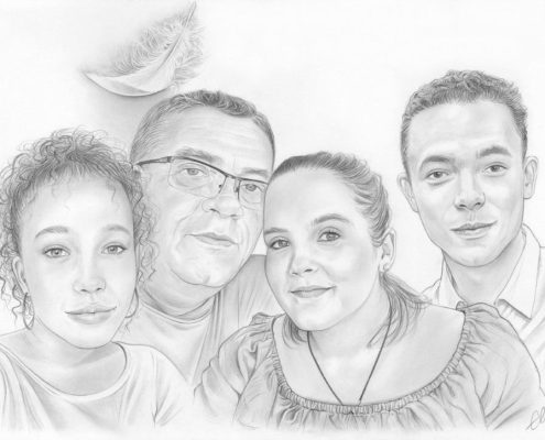 Portrait dessin d'un père avec ses trois enfants