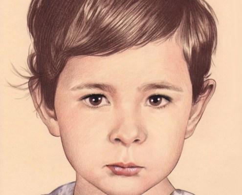 Portrait dessin d'une petite fille aux cheveux courts