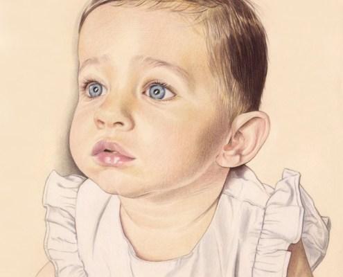 Portrait dessin d'une petite fille en robe de baptême