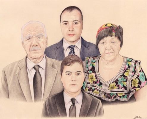 Portrait dessin de parents avec leurs deux fils
