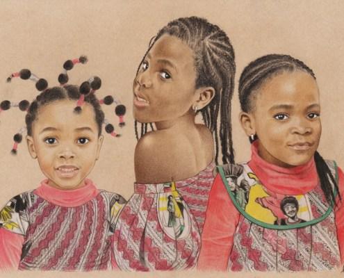 Portrait dessin de trois petites filles africaines en couleur