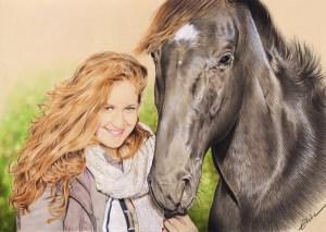 Portrait dessin d'une jeune fille rousse avec son cheval