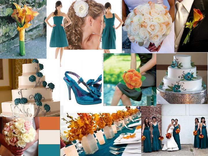 Libby Dark Teal And Orange : PANTONE WEDDING Styleboard