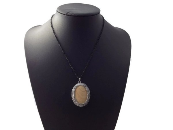 Wrapped Jasper Chainmaille Pendant by Destai